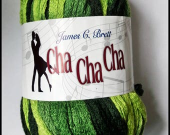 SALE - 50% off! James C Brett Cha Cha Cha Fashion  Knitting Scarf Yarn - variegated greens - one ball makes one scarf