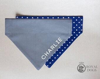 Personalized Dog Bandana | Navy Blue Dots | Reversible Custom Cotton Bandana | Christmas Bandana | Dog Name bandana | Over the collar | UK