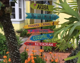 Destination Signs with patio stand, Family vacation, Beach house, Directional pole, Cruise port, Custom mileage sign, personalized mileage