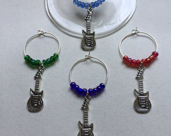 Guitar Wine Charms