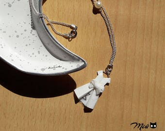 Necklace white dress paper origami [marriage] [handmade jewelry.