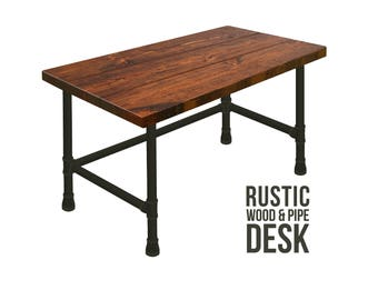 Rustic Desk Pipe Desk, Distressed Industrial Desk, Chic Desk, Industrial Chic Style Desk, Solid Wood Desk, Urban Wood Desk Office Desk