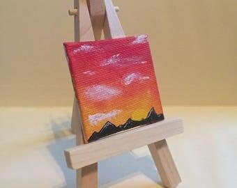 """Mini Sunset/Mountain Painting, 2x2"""", acrylic on canvas"""
