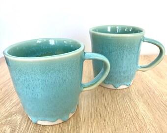 Wheel thrown turquoise ceramic stoneware mug | FREE SHIPPING