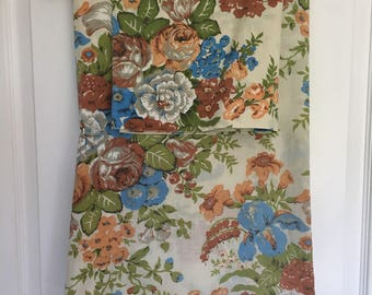 Vintage Tan Floral Twin Fitted Sheet and Pillowcase