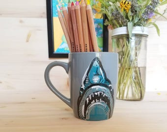 Great White Shark Mug/ Shark Coffee Cup/ Great White Coffee Cup/ Shark Art Coffee Mug/ Shark Pencil Cup/ Shark Office Accessory/ Shark Week