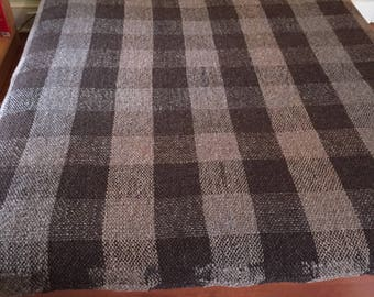 Handwoven blanket/throw with light and dark grey wool