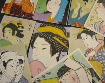 X 9 Vintage Japanese Geisha matchbox labels collectible match box cover Matchbox Art 60s