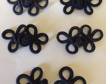 "5 Vintage Nylon Decorative Frog Closures, Dark Navy, 2.75"""