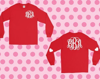 Monogram Front and Back with Heart sleeves Tshirt | Valentine's Day
