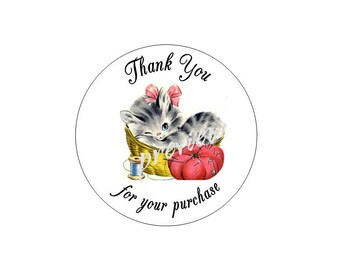Vintage Kitty Cat & Sewing Thimble  Thank You Sticker Labels