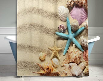 starfish seashell beach sand shower curtain bathroom decor home decor