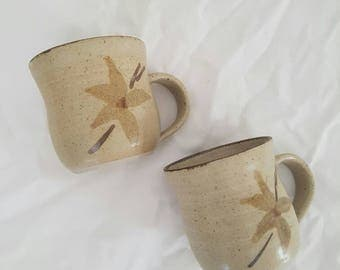Handmade Coffee Mugs // Vintage Cups // Hand Painted Floral Ceramic