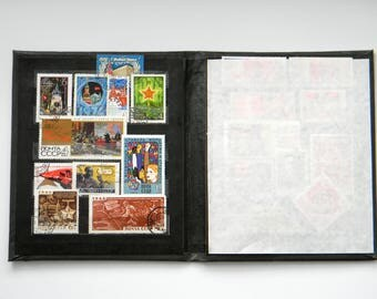 Vintage Album with Postal Stamps of the USSR-Soviet Postage Stamp Collecting Album-Vintage Stamp Book-philately-Soviet propaganda