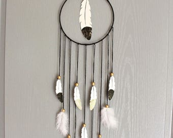 Dream catcher 'Feather' black grey and gold