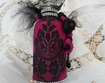 Decorated glass bottle shabby chic pink silk lace of calais black beads with facets black down