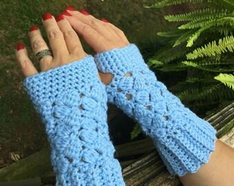 Baby Blue Fingerless Gloves