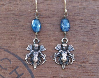 Cherub Fairy with Kyanite Gemstones Earrings French Brass Antique Vintage Style