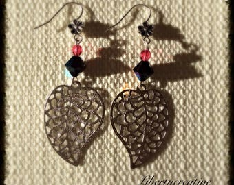 Beaded silver leaf earrings black and Red Crystal