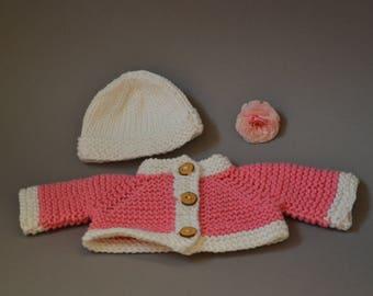 Made of 100% cotton - Waldorf doll cardigan Waldorf doll clothes Steiner doll clothes Steiner doll cardigan jacket jumper knit knitwear