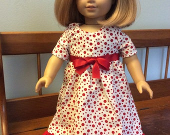 A fun dress made for an 18 inch doll such as American girl and the like size