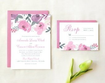 Floral Watercolor Wedding Invitation and RSVP card