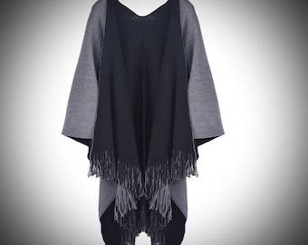 Gwendolyn Shawl/Double Sided Cape/Renaissance Medieval Viking Attire Clothing/Tassel Knit Shawl/Grey Cape/Grey Shawl/Poncho/The Kingdom