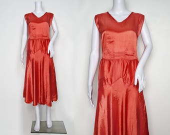 1930s Coral Satin Dropped-Waist Dress