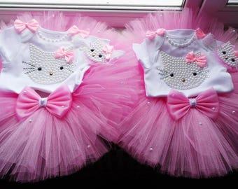 Hello Kitty Birthday Tutu Set, Hello Kitty Birthday, PINK Tutu Outfit Hello Kitty, Hello Kity dress, Tutu Set,1st Birthday, pink tutu