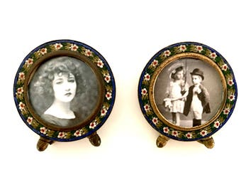 Vintage Italian Matching set of Micro Mosaic, Micromosaic, Miniature Photo Frames,  in great condition