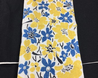 Genuine Vintage WW2 Linen Tray Cloth/Table Napkin. Blue & Yellow Flowers.