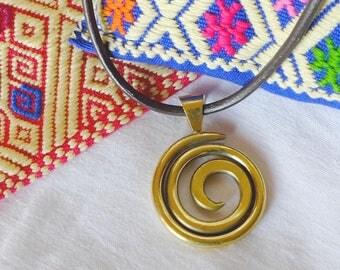 Brass - o - gold spiral pendant