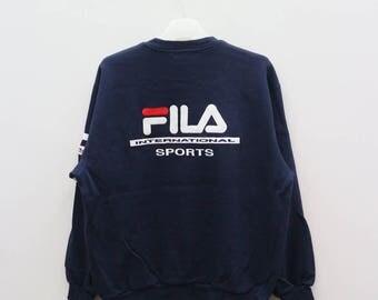 Vintage FILA International Sportswear Big Logo Blue Sweater Sweatshirt Size L