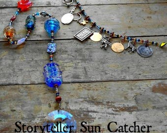 Ashes in Glass Memorial Storyteller Sun Catcher 24 inch, Pet Memorial, Memorial Art