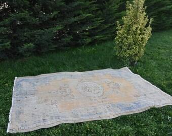 faded colored vintage bohemian docer rug Free Shipping boho rug 4.9 x 8 feet aztec rug organic rug vintage rug turkish rug Code298