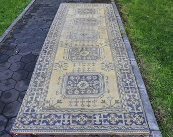 Runner Area Rug Vintage Runner Rug Anatolian Runner Rug 4.2 x 11.3 feet Free Shipping Floor Rug Oushak Rug Natural Wool Bohemian Rug DC571