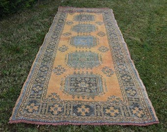 Free Shipping Decorative Turkish Rug 4.5 x 11. feet Vintage Boho Decor Rug Oushak Rug Handknotted Wool Rug Floor Rug Area Rug DC886