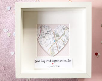 Map Frame | Map Art | Wedding Gift for Couples | Housewarming | Framed Map Art | Anniversary | New Home | Valentines Gift | Gift for Couple