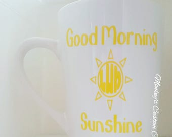 Good Morning Sunshine Monogrammed Coffee Mug, Good Morning Sunshine, Coffee Mug, Monogrammed Coffee Mug, Good Morning Coffee Mug, Sunshine
