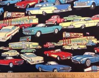 2/3 yard of Vintage cars and trucks cotton fabric