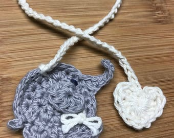 Elephant and heart umbilical cord tie cotton crochet natural home birth hospital labour delivery csection born baby doula handmade ready