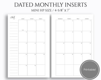 "2018 Dated Monthly Printable Planner Inserts, MO2P Sunday-Saturday Monthly Calendar ~ Mini Happy Planner / 4.6"" x 7"" Instant Download (MSS)"
