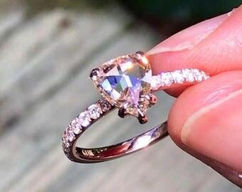 Rose Cut Diamond Ring - Light Pinkish Champagne Diamond 18k Rose Gold