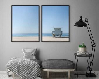 2 Piece Beach Poster, Minimalist Beach Wall Art, Blue Sky Printable, Lifeguard Tower Printable, Set of 2 Print, Home Decor Digital Download