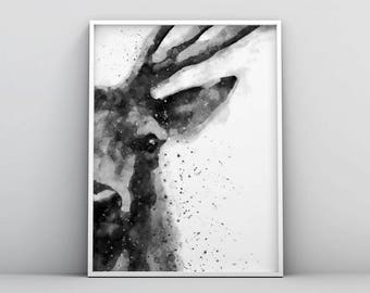 Deer Watercolor Printable, Deer Art Print, Painting Deer Head, Abstract Deer Painting, Modern Wall Art, Minimalist Decor Scandinavian Poster
