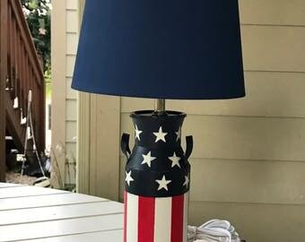 America Flag Milk Jug Lamp