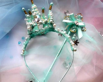 crown with a magic wand-clothes for the new year-Photo Props-Ivory-Crown, Tiara,hair accessories, pageant crown Wedding Crown, Cosplay,