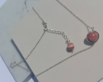 Rhodochrosite, moonstone, or amethyst with 925 Silver necklace handmade