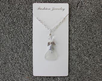 32'' White Beach Glass Angel Necklace