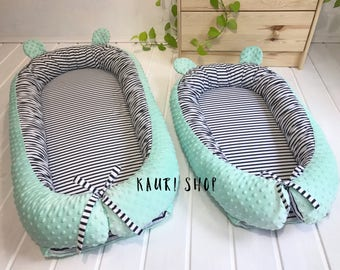 Baby Nest with ruches and REMOVABLE MATTRESS , babynest, pod, cot, snuggle nest, baby nest pattern, sleep nest, co sleeper, removable cover.